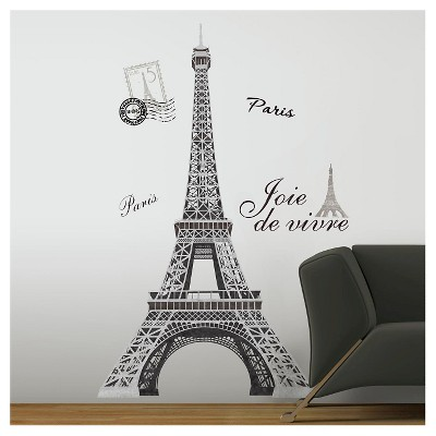 13 Eiffel Tower Peel and Stick Giant Wall Decal Black - ROOMMATES