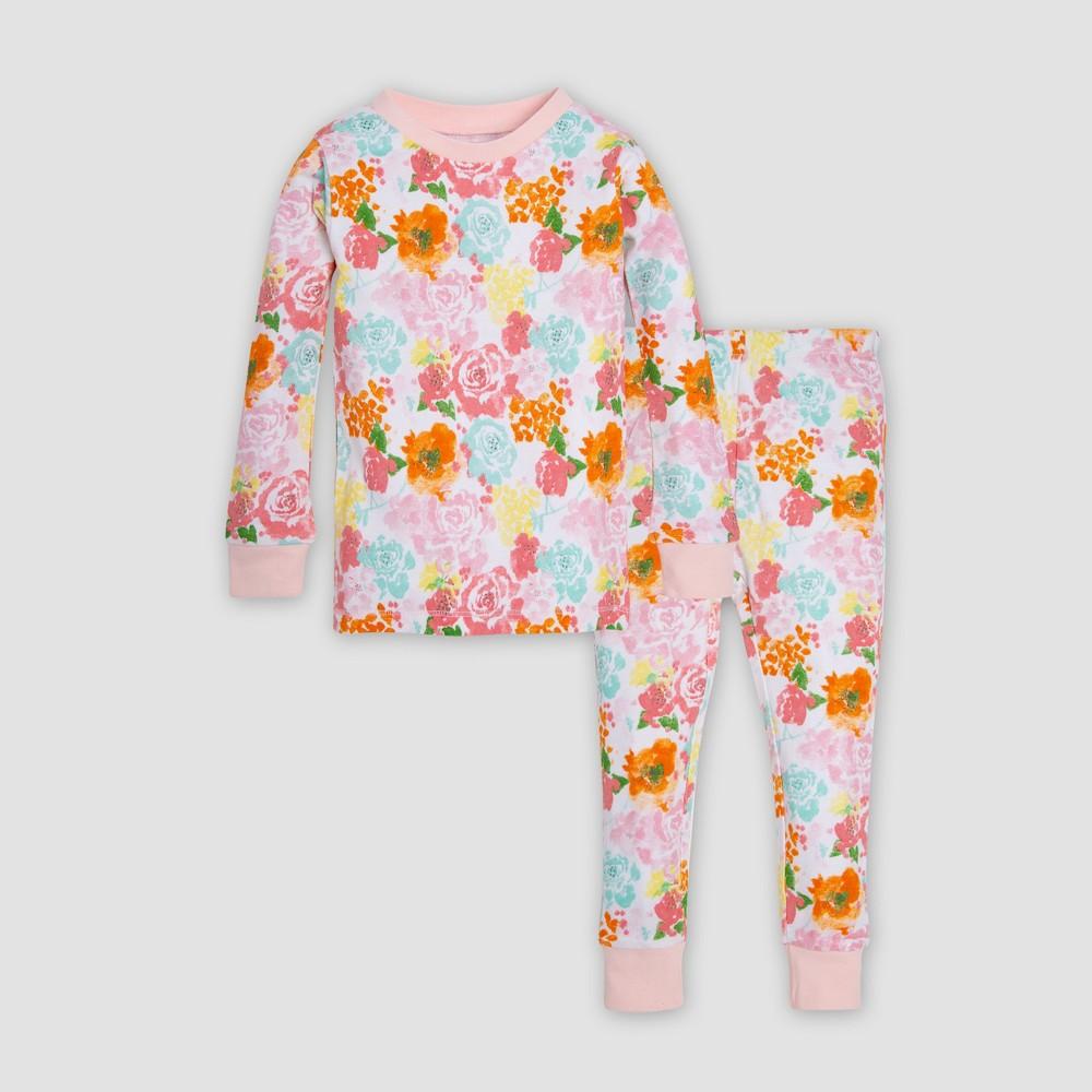 Burt's Bees Baby Toddler Girls' Floral Organic Cotton Pajama Set - Peach 5T, Pink