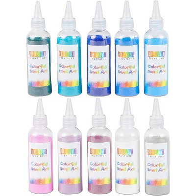 Bright Creations 10 Pack Colored Sand Bottles for Arts and Crafts, Cool Colors (0.33 lb)
