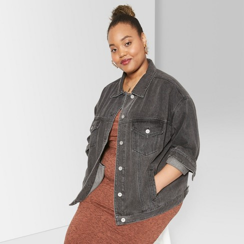 754305faa9276 Women s Plus Size Denim Trucker Jacket - Wild Fable™ Black Wash   Target