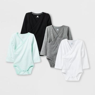 Babys' 4pk Kimono Long sleeve Bodysuit - Cloud Island™ Black 3-6M