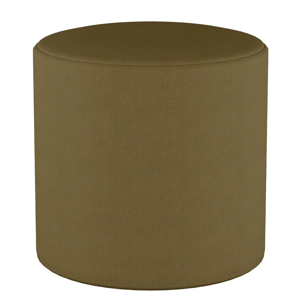 Round Ottoman in Linen Olive (Green) - Project 62