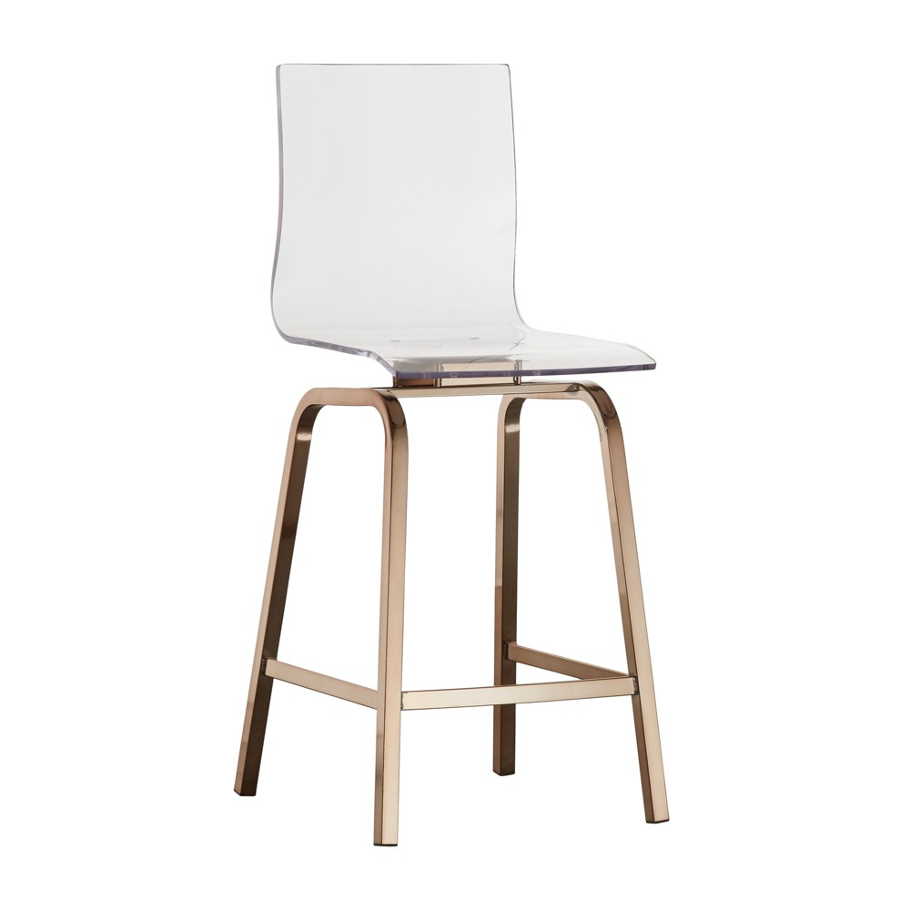 Set of 2 Alta Modern Metallic Counter Height Chair Champagne Gold - Inspire Q