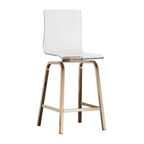 Tremendous Set Of 2 Alta Modern Metallic Counter Height Chair Champagne Gold Inspire Q Machost Co Dining Chair Design Ideas Machostcouk