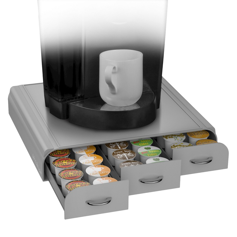 Image of Mind Reader Coffee Pod 36 Capacity Triple Drawer -Silver, Gray/Black