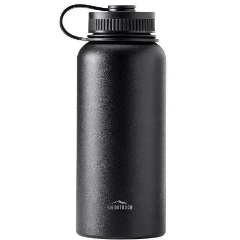 Pure Outdoor Collection SweatProof Monoprice Vacuum Sealed Wide Mouth Water Bottle 32oz Black Hot and Cold | BPA Free Insulated