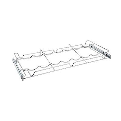 Rev-A-Shelf Sidelines 5WBR-30CR-1 30 Inch Chrome Single Wire Pullout 7 Wine Bottle Rack Organizer for 14 Inch Deep Kitchen Pantry/Bar Cabinet Closet