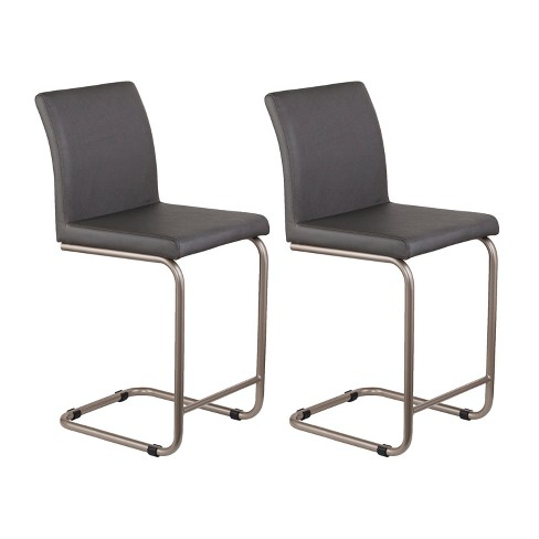 Awe Inspiring Set Of 2 Padma Faux Leather Counter Stools Gray Aiden Lane Cjindustries Chair Design For Home Cjindustriesco