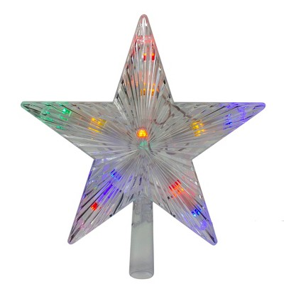 "J. Hofert Co 9.5"" Lighted Clear Constant Wide Angle 5 Point Star Christmas Tree Topper - Multicolor LED lights"