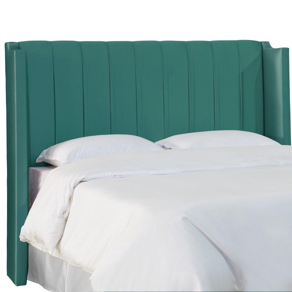 Grace Upholstered Wingback Headboard - Queen - Peacock Shantung - Skyline Furniture