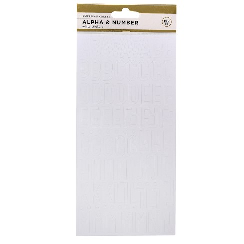 169pc Paper Stickers Alpha & Number White - American Crafts - image 1 of 3