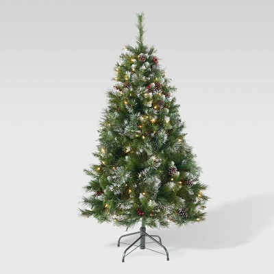 4.5ft Mixed Spruce Pre-Lit Artificial Christmas Tree with Glitter Clear Lights - Christopher Knight Home