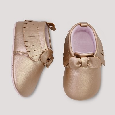 Baby Girls' Bow Moccasins - Cloud Island™ Rose Gold 0-3M