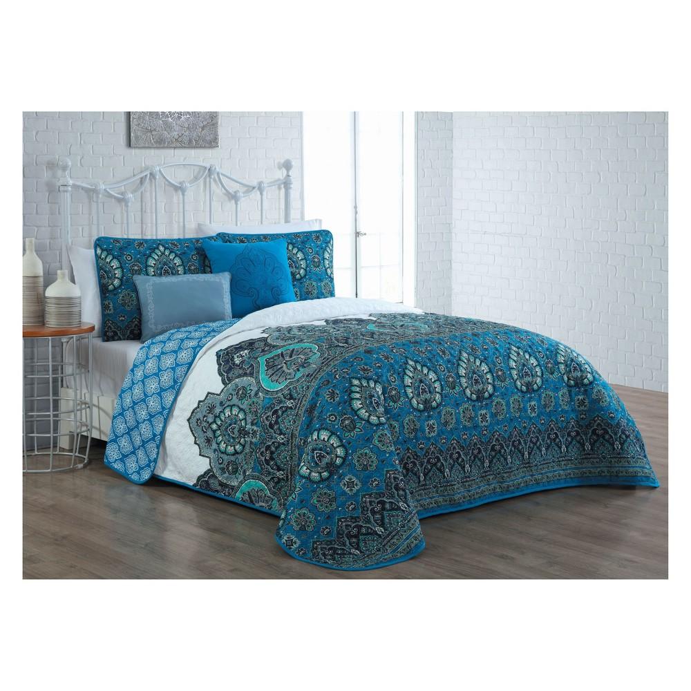 Image of 5pc Queen Livia Quilt Set Blue - Avondale Manor