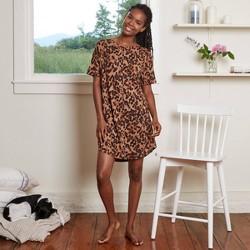 Women's Tortoise Print Short Sleeve Beautifully Soft Nightgown - Stars Above™ Brown
