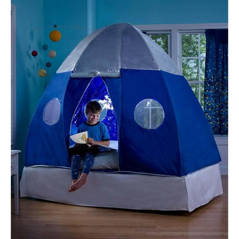 Galactic Eship Twin Bed Tent For Kids With Starburst Led Light Hearthsong