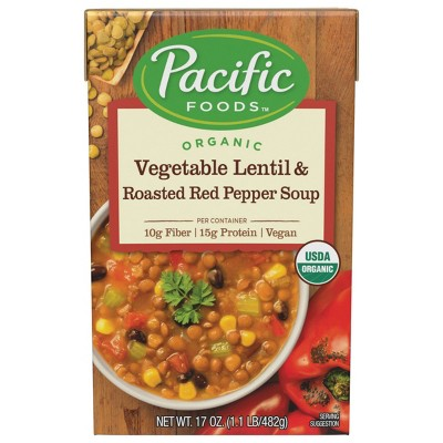 Pacific Foods Organic Vegetable Lentil & Roasted Red Pepper Soup - 17oz