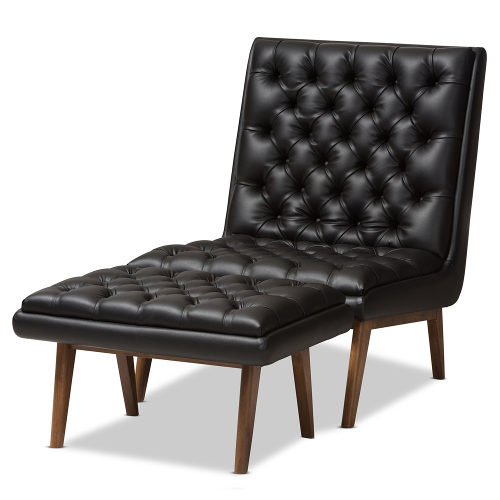 Baxton Studio Annetha Mid Century Modern Walnut Finished Wood Faux Leather Upholstered and Ottoman Set Black