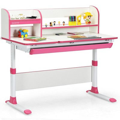Costway Adjustable Height Kids Study Desk Drafting Table Computer Station Pink\Blue
