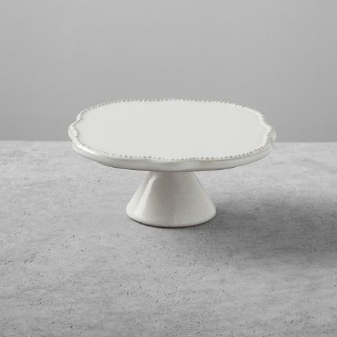 Stoneware Cake Stand Small Cream Hearth Hand With Magnolia