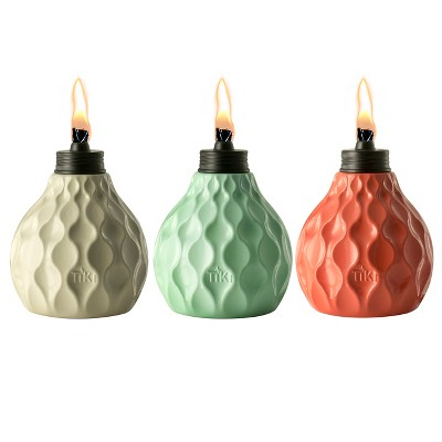 6  3pk Marine Glass Table Torch Seaside Escape Ivory/Coral/Blue - TIKI