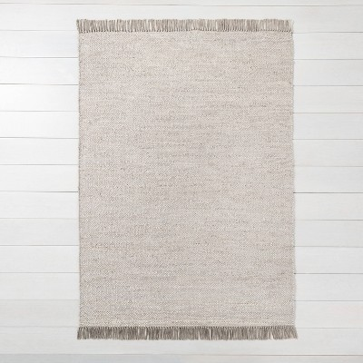 5' x 7' Bleached Jute Rug with Fringe Gray - Hearth & Hand™ with Magnolia