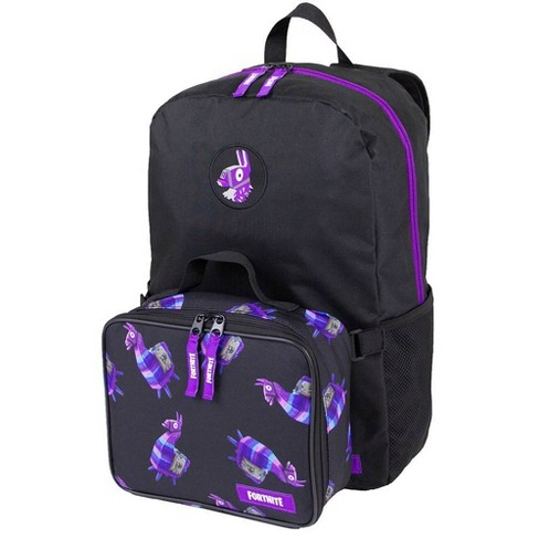 """Fortnite 18"""" Kids' Modified Backpack/Lunch Combo - Black/Purple - image 1 of 4"""