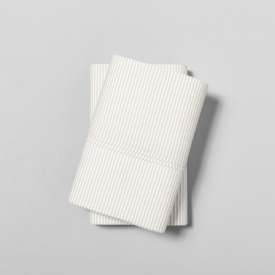 Standard Pillowcase Set Organic Microstripe Tonal Cream - Hearth & Hand™ with Magnolia