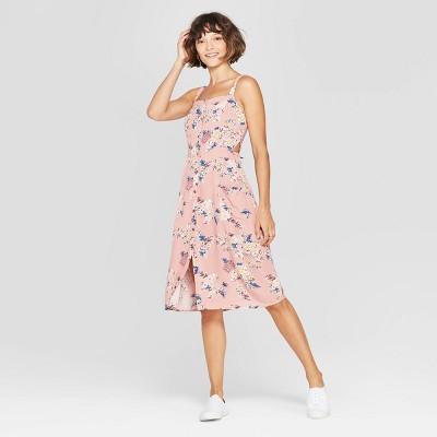 Women's Floral Print Square Neck Strappy Button Front Midi Dress - Xhilaration™ Rose XL