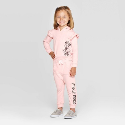 Toddler Girls' Minnie Mouse Hooded Sweatshirt and Kangaroo Pocket Joggers Set - Pink 18M