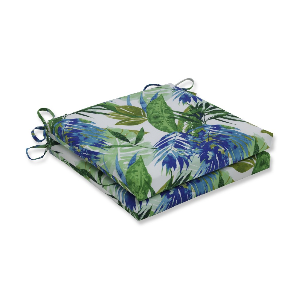 Soleil Blue 2pc Indoor Outdoor Squared Corners Seat Cushion Pillow Perfect