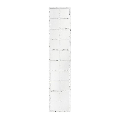 Divided Rectangle Wall Mirror with Distressed Frame White - 3R Studios