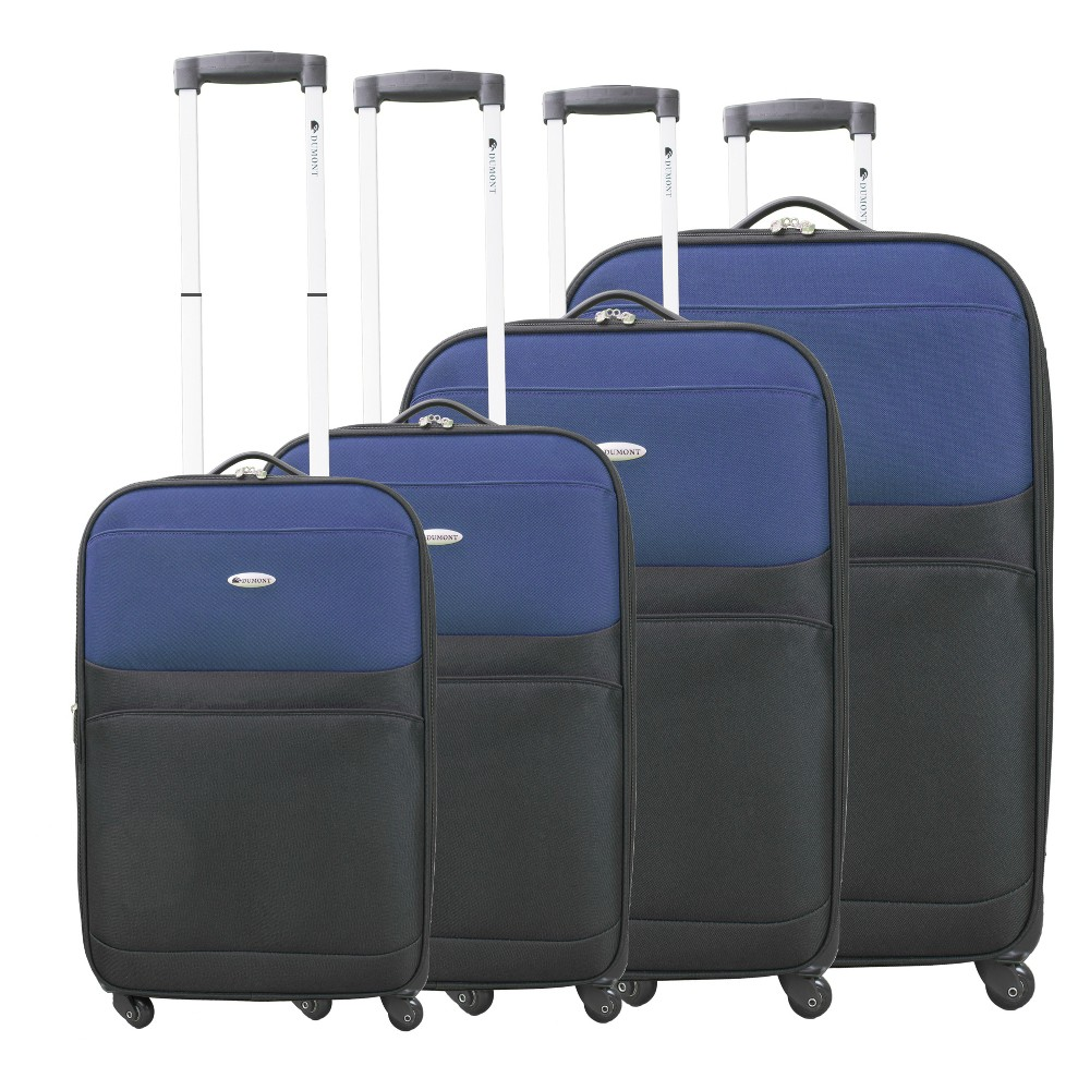 Image of Dumont Lynx 4pc Spinner Luggage Set - Navy/ Black, Size: Small, Blue