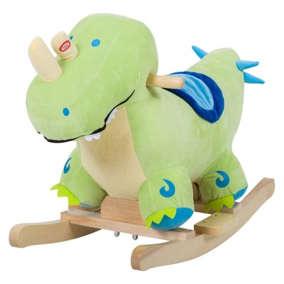 Qaba Kids Plush Ride-On Rocking Horse Toy Dinosaur Ride on Rocker Green with Realistic Sounds