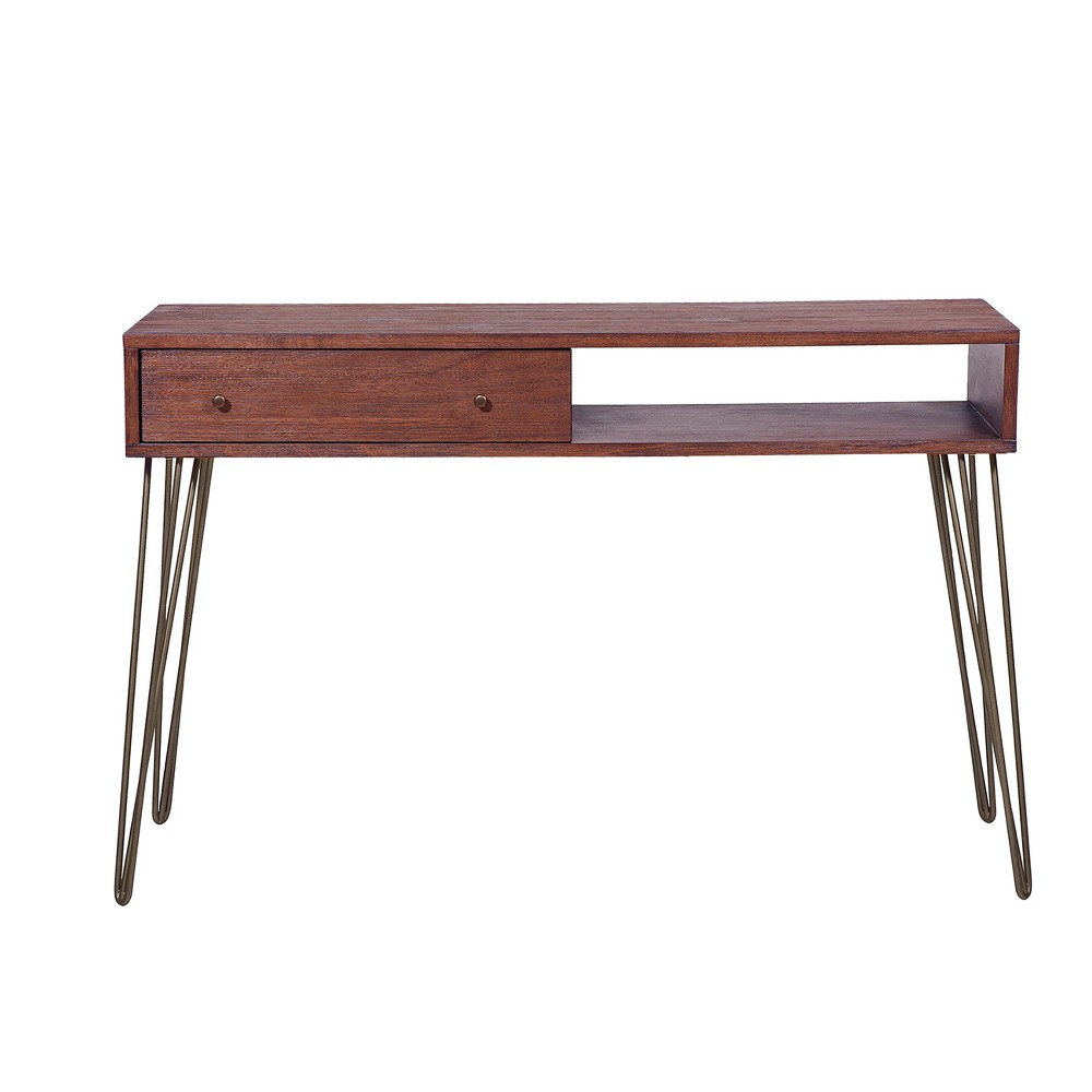 Mid - Century Modern Walnut Brushed Acacia One Drawer Accent Storage Console Table - Brown - Pulaski
