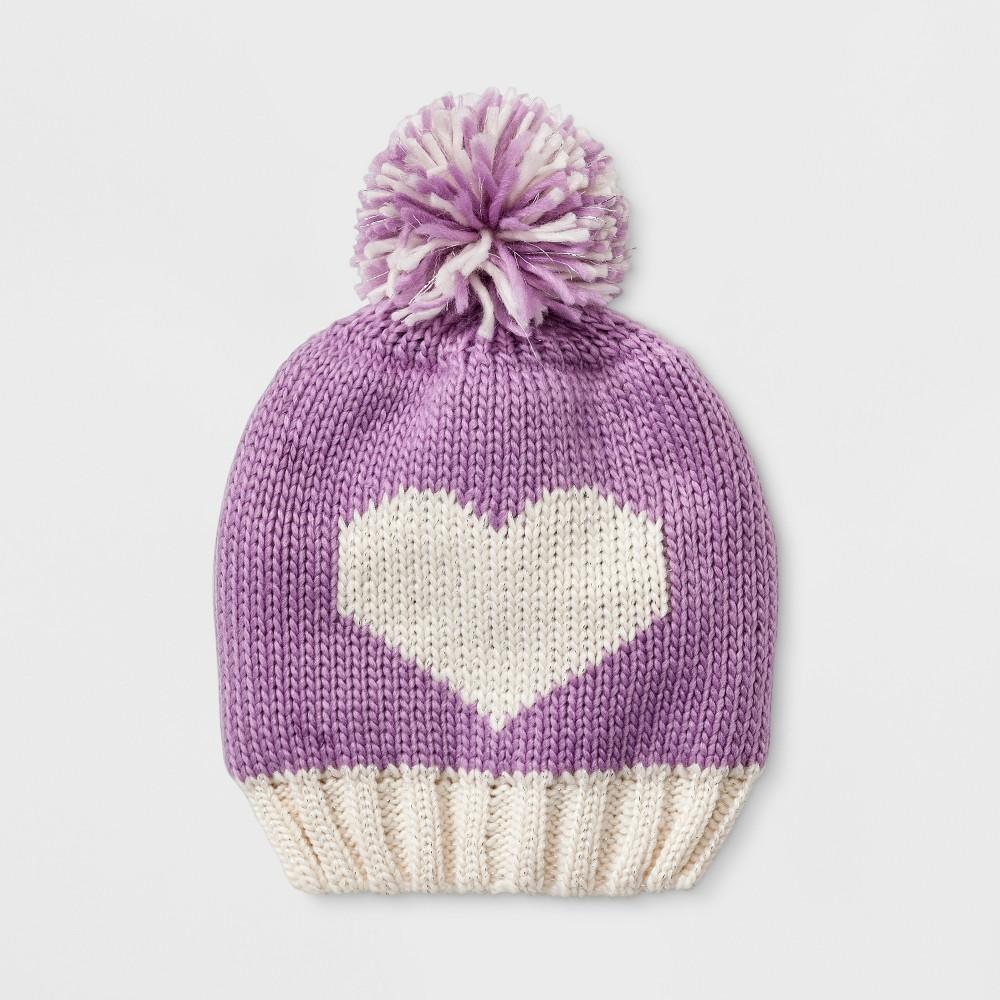 Baby Girls' Igloos Beanie with Heart & Pom - Purple 12-24M