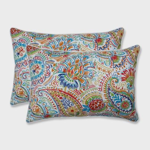 2pk Gilford Oversized Rectangular Outdoor Throw Pillow Festival Blue