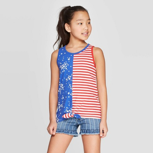 a66b257ad4a Girls  Americana Stars   Stripes Tank - Cat   Jack™ Red White Blue   Target