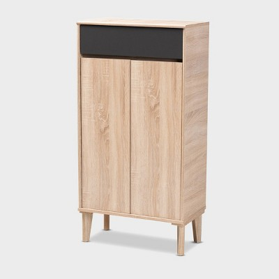 Fella Two-Tone Oak and Entryway Shoe Cabinet with Drawer Brown - Baxton Studio