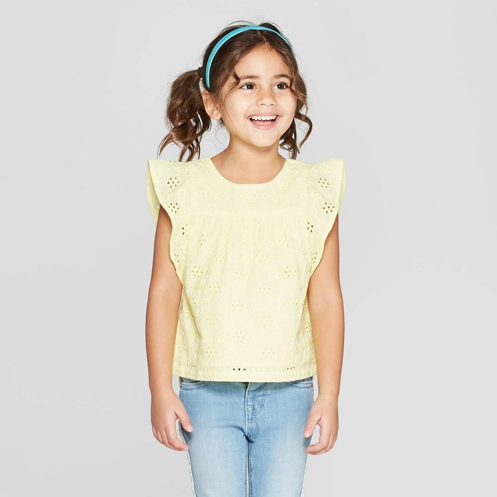 Toddler Girls' Short Sleeve Woven Blouse - Cat & Jack Yellow 3T
