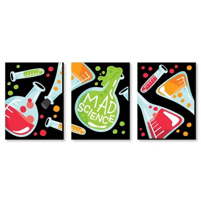 Big Dot of Happiness Scientist Lab - Baby Boy Nursery Wall Art and Mad Science Kids Room Decor - 7.5 x 10 inches - Set of 3 Prints
