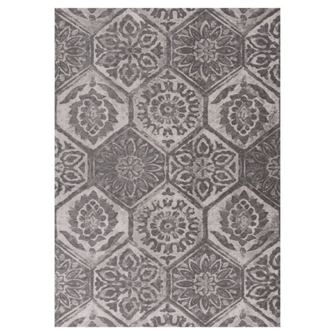 Retreat Mosaic Stain Resistant Pressed/Molded Rug - KAS - image 1 of 1