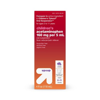 Children's Acetaminophen Pain Reliever & Fever Reducer Liquid - Grape - 4oz - Up&Up™