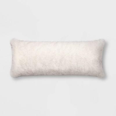 Rabbit Faux Fur Body Pillow White/Gray - Threshold™