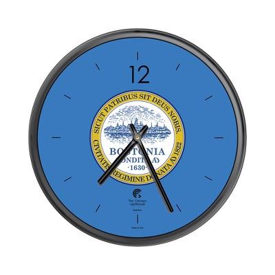 "Chicago Lighthouse 12.75""x12.75"" City Flag Boston Slimline Frame Decorative Wall Clocks Black"