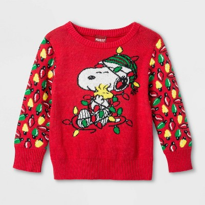 Baby Boys' Peanuts Snoopy Holiday Lights Ugly Sweater - Red 0-3M
