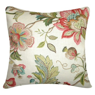 """Multi-Colored Spring Floral Throw Pillow (18""""x18"""") - The Pillow Collection"""