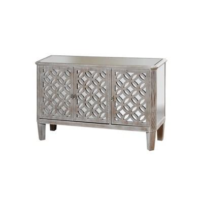 "50"" Distressed Mirrored Filigree 3 Door Cabinet Driftwood Gray - StyleCraft"