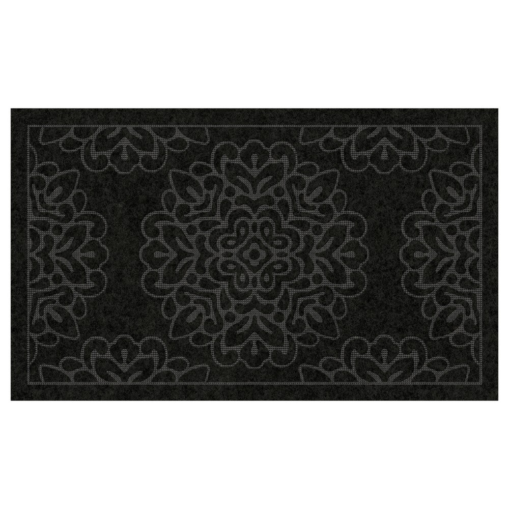"Image of ""1'6""""X2'6"""" Damask Doormats Black - Multy Home LP"""
