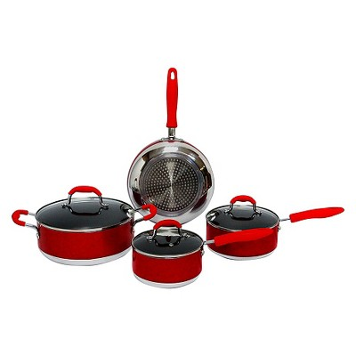Gourmet Chef 7pc Induction Ready Nonstick Cookware Set Red